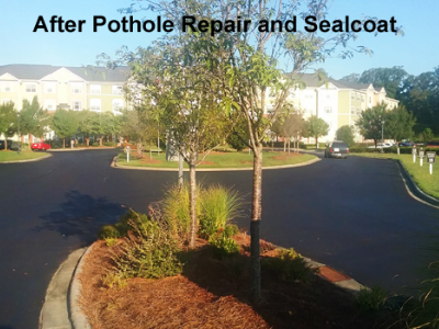 Photo of pothole repair and sealcoat